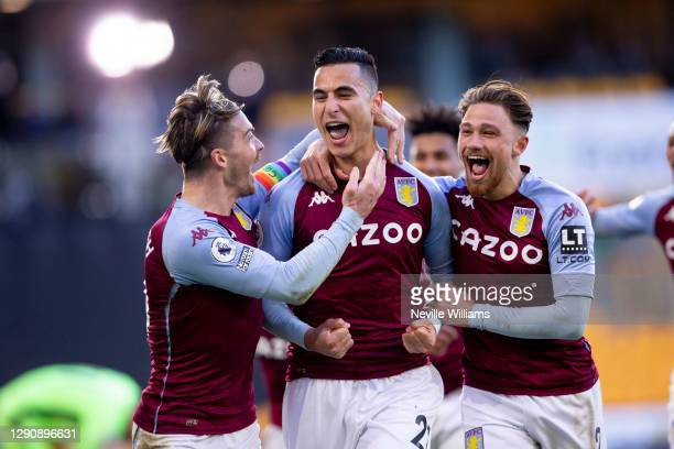 Anwar El Ghazi of Aston Villa celebrates with teammates after scoring the opening goal during the Premier League match between Wolverhampton...