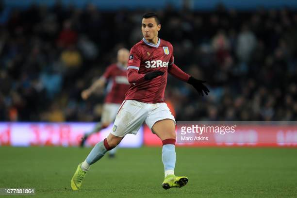 Anwar El Ghazi of Aston Villa during the FA Cup Third Round match between Aston Villa and Swansea City at Villa Park on January 5 2019 in Birmingham...