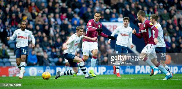 Anwar El Ghazi of Aston Villa during the Sky Bet Championship match between Preston North End and Aston Villa at Deepdale on December 29 2018 in...