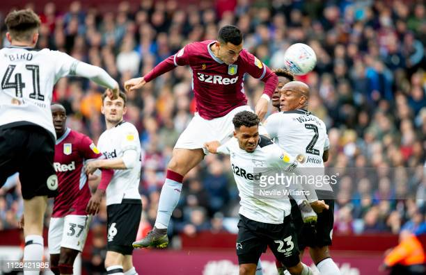 Anwar El Ghazi of Aston Villa during the Sky Bet Championship match between Aston Villa and Derby County at Villa Park on March 02 2019 in Birmingham...