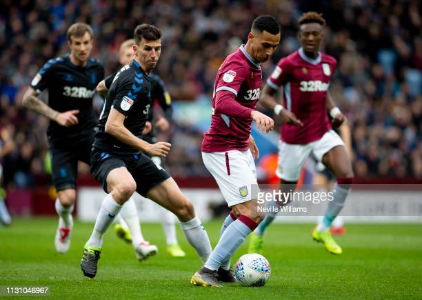Anwar El Ghazi of Aston Villa during the Sky Bet Championship match between Aston Villa and Middlesbrough at Villa Park on March 16 2019 in...