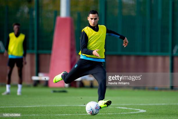 Anwar El Ghazi of Aston Villa in action during a training session at the club's training ground at Bodymoor Heath on October 18 2018 in Birmingham...