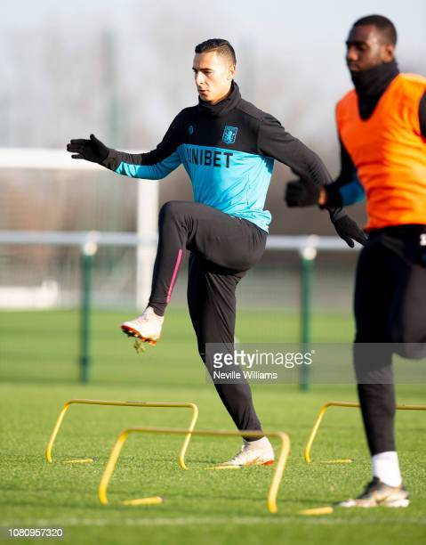 Anwar El Ghazi of Aston Villa in action during a training session at Bodymoor Heath training ground on December 11 2018 in Birmingham England