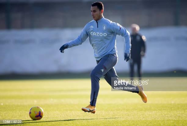 Anwar El Ghazi of Aston Villa in action during a training session at Bodymoor Heath training ground on November 26 2020 in Birmingham England