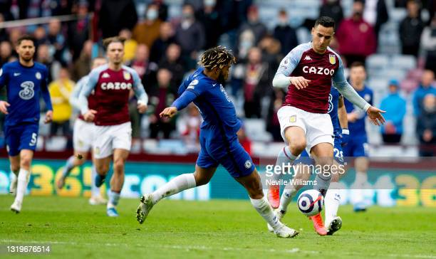 Anwar El Ghazi of Aston Villa in action during the Premier League match between Aston Villa and Chelsea at Villa Park on May 23, 2021 in Birmingham,...