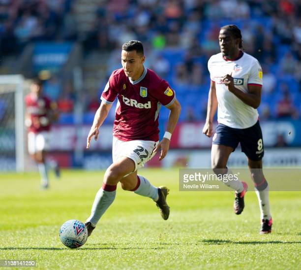 Anwar El Ghazi of Aston Villa in action during the Sky Bet Championship match between Bolton Wanderers and Aston Villa at the Macron Stadium on April...