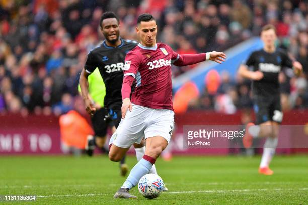 Anwar El Ghazi of Aston Villa makes a run at goal during the Sky Bet Championship match between Aston Villa and Middlesbrough at Villa Park...