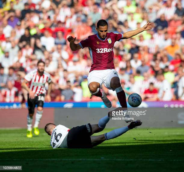 Anwar El Ghazi of Aston Villa scores for Aston Villa during the Sky Bet Championship match between Sheffield United and Aston Villa at Bramall Lane...