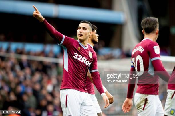 Anwar El Ghazi of Aston Villa scores for Aston Villa during the Sky Bet Championship match between Aston Villa and Middlesbrough at Villa Park on...
