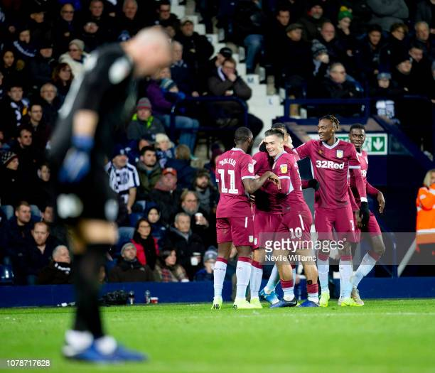 Anwar El Ghazi of Aston Villa scores his second goal for Aston Villa during the Sky Bet Championship match between West Bromwich Albion and Aston...