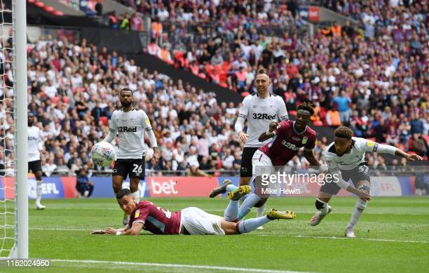 Anwar El Ghazi of Aston Villa scores his team's first goal during the Sky Bet Championship Play-off Final match between Aston Villa and Derby County...