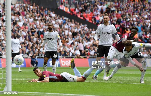 Anwar El Ghazi of Aston Villa scores his team's first goal during the Sky Bet Championship Playoff Final match between Aston Villa and Derby County...