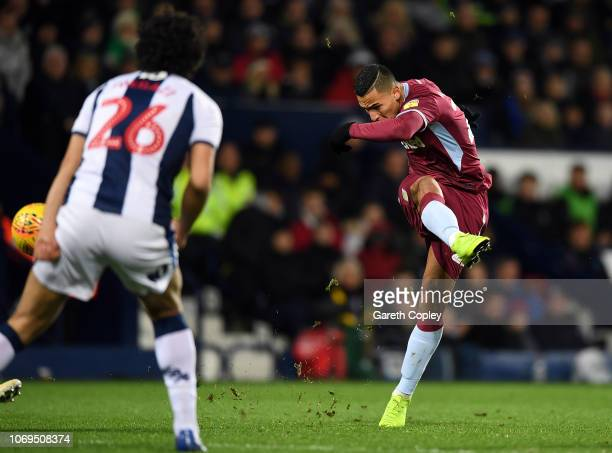 Anwar El Ghazi of Aston Villa scores their second goal during the Sky Bet Championship match between West Bromwich Albion and Aston Villa at The...