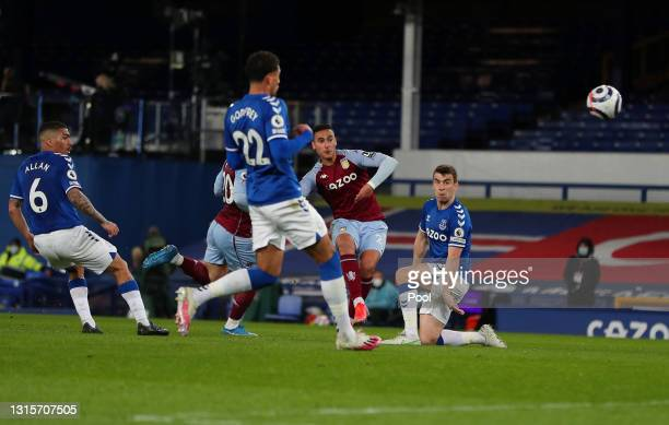 Anwar El Ghazi of Aston Villa scores their side's second goal during the Premier League match between Everton and Aston Villa at Goodison Park on May...