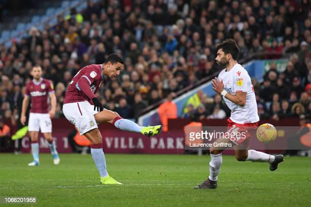 Anwar El Ghazi of Aston Villa scores to make it 54 during the Sky Bet Championship match between Aston Villa and Nottingham Forest at Villa Park on...