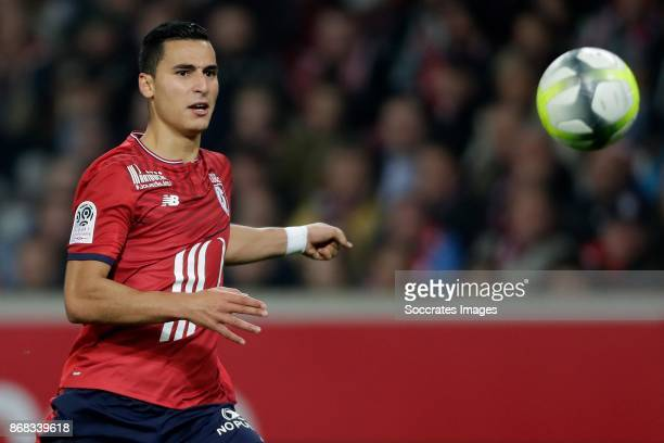 Anwar El Ghazi of Lille during the French League 1 match between Lille v Olympique Marseille at the Stade Pierre Mauroy on October 29, 2017 in Lille...