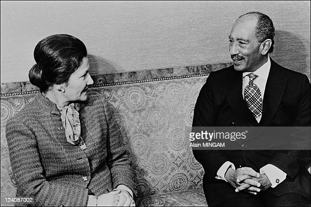 Anwar el Sadat files pictures on February 02 1981 Anwar elSadat with Simon Veil French minister for Social Affairs