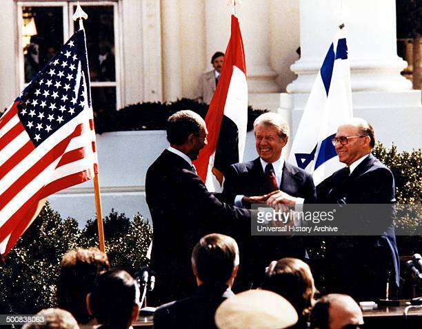 Anwar El Sadat Jimmy Carter and Menachem Begin at White House to sign the 1979 Egypt–Israel Peace Treaty