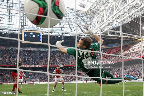 Anwar ElGhazi of Ajax heads and scores the first and only goal of the game past goalkeeper Alessandro Damen of Excelsior during the Dutch Eredivisie...