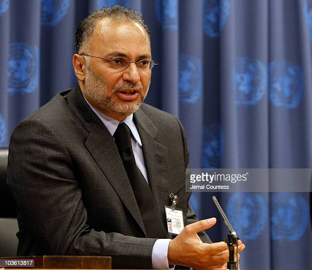 HE DR Anwar Gargash Minister of State of Foreign Affairs of the Unitede Arab Emirates speaks at a press conference following a special thematic...