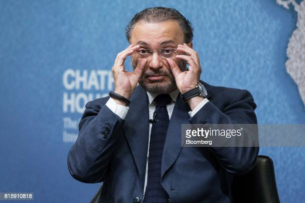 Anwar Gargash United Arab Emirates' foreign minister adjusts his spectacles at Chatham House in London UK on Monday July 17 2017 Gargash denied any...