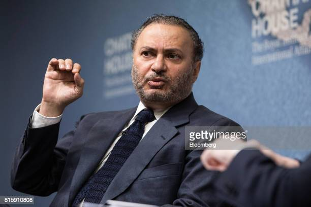 Anwar Gargash United Arab Emirates' foreign minister gestures as he speaks at Chatham House in London UK on Monday July 17 2017 Gargash denied any...