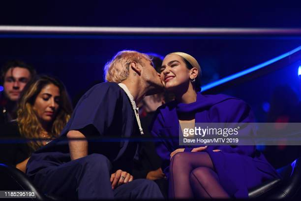 Anwar Hadid and Dua Lipa during the MTV EMAs 2019 at FIBES Conference and Exhibition Centre on November 03, 2019 in Seville, Spain.