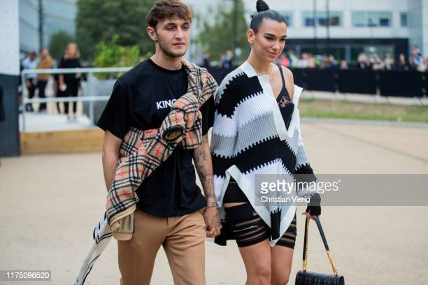 Anwar Hadid and Dua Lipa is seen outside Burberry during London Fashion Week September 2019 on September 16, 2019 in London, England.
