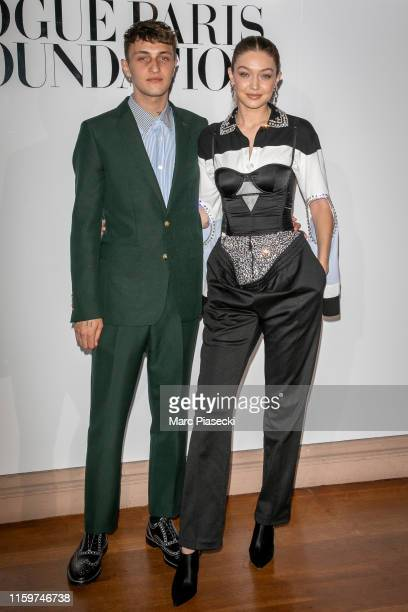 Anwar Hadid and Gigi Hadid attend the Vogue diner as part of Paris Fashion Week Haute Couture Fall Winter 2020 at Le Trianon on July 02 2019 in Paris...