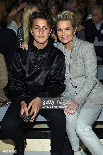 Anwar Hadid and Yolanda Foster attend the 2015 Victoria's Secret Fashion Show at Lexington Avenue Armory on November 10 2015 in New York City
