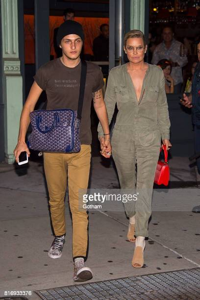 Anwar Hadid and Yolanda Hadid are seen in NoHo on July 17 2017 in New York City