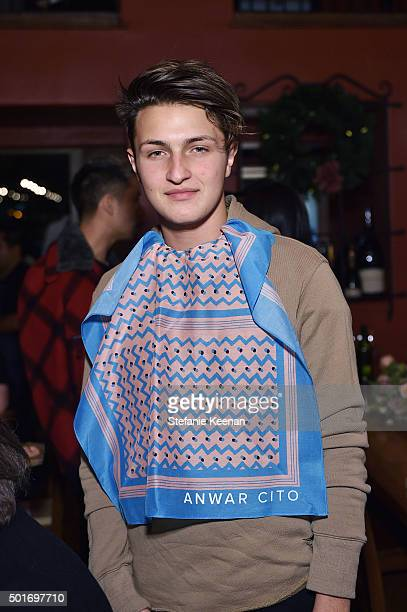 Anwar Hadid attends Alana Hadid x Lou Grey Celebrate Collaboration With Friends And Family In Los Angeles at Republique on December 16 2015 in Los...