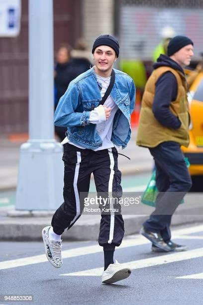 Anwar Hadid is seen in Manhattan on April 19, 2018 in New York City.