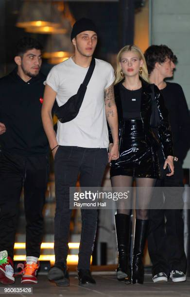 Anwar Hadid Nicola Peltz are seen leaving Gigi Hadid's party in Brooklyn on April 23 2018 in New York City