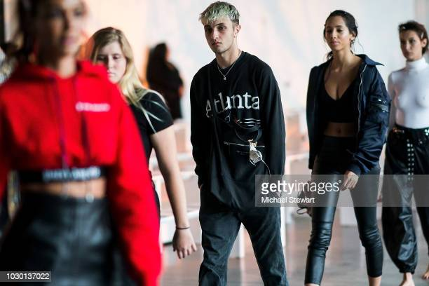 Anwar Hadid prepares before the Prabal Gurung fashion show during New York Fashion Week The Shows at Gallery I at Spring Studios on September 9 2018...