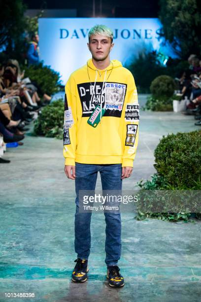 Anwar Hadid showcases designs by Diesel designs during the David Jones Spring Summer 18 Collections Launch at Fox Studios on August 8 2018 in Sydney...