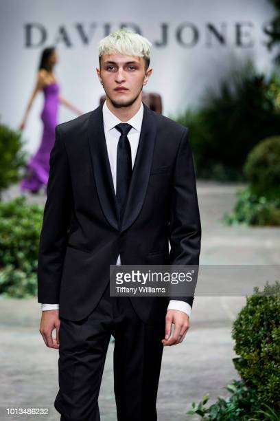 Anwar Hadid showcases designs by Joe Black designs during the David Jones Spring Summer 18 Collections Launch at Fox Studios on August 8 2018 in...
