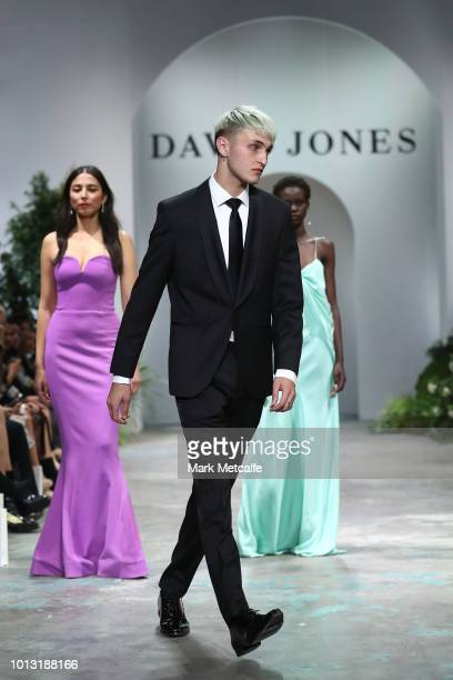 Anwar Hadid showcases designs by Joe Black during the David Jones Spring Summer 18 Collections Launch at Fox Studios on August 8 2018 in Sydney...