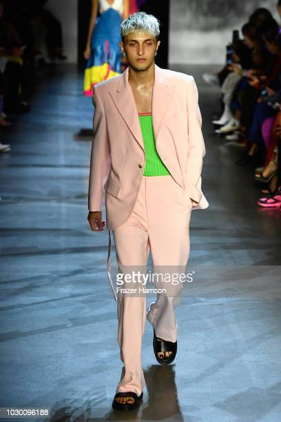 Anwar Hadid walks the runway at Prabal Gurung show during New York Fashion Week The Shows at Gallery I at Spring Studios on September 9 2018 in New...