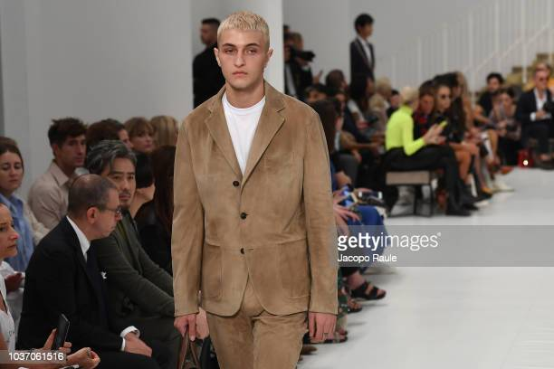 Anwar Hadid walks the runway at the Tod's show during Milan Fashion Week Spring/Summer 2019 on September 21 2018 in Milan Italy