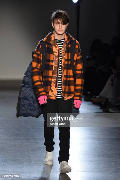 Anwar Hadid walks the runway at the Zagdig Voltaire fashion show during New York Fashion Week at Skylight Modern on February 13 2017 in New York City