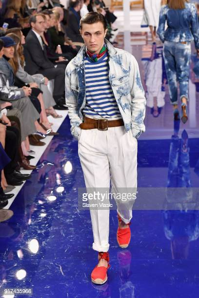 Anwar Hadid walks the runway for Ralph Lauren during New York Fashion Week The Shows at on February 12 2018 in New York City