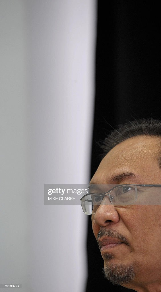 Anwar Ibrahim former deputy prime minister of Malaysia speaks at a press conference in Hong Kong, 24 January 2008. Anwar said the upcoming elections in Malaysia will be a defining moment for the country.