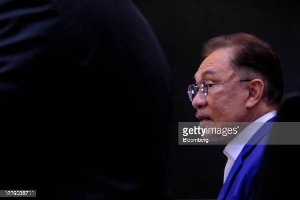 Anwar Ibrahim founder and president of the People's Justice Party speaks during a news conference in Kuala Lumpur Malaysia on Tuesday Oct 13 2020...