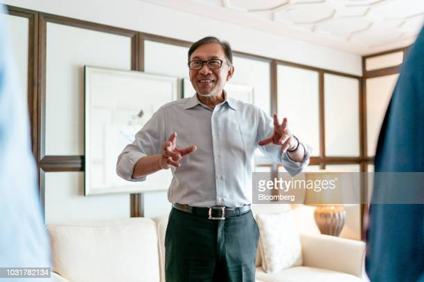 Anwar Ibrahim founder of Malaysia's People's Justice Party reacts following an interview in Hong Kong China on Wednesday Sept 12 2018 Anwar whos in...