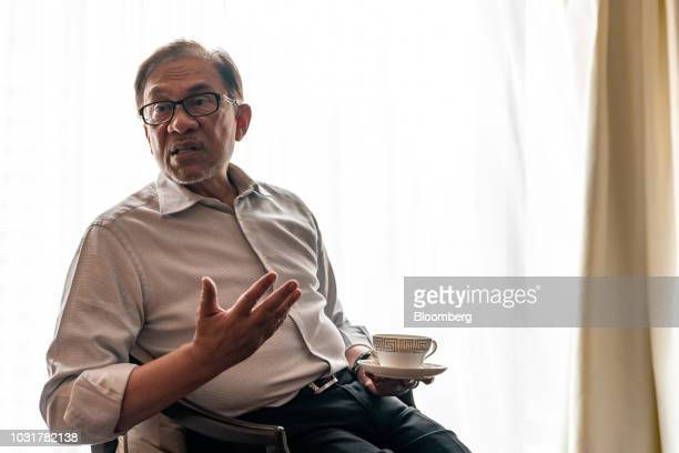 Anwar Ibrahim founder of Malaysia's People's Justice Party speaks during an interview in Hong Kong China on Wednesday Sept 12 2018 Anwar whos in line...