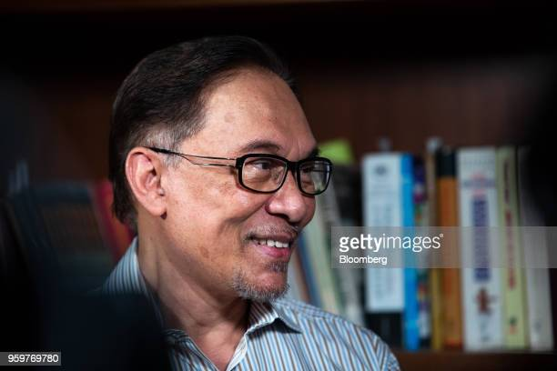 Anwar Ibrahim founder of the People's Justice Party speaks during a Bloomberg Television interview in Kuala Lumpur Malaysia on Friday May 18 2018...