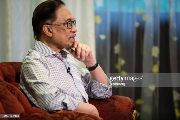 Anwar Ibrahim founder of the People's Justice Party speaks during an interview in Kuala Lumpur Malaysia on Friday May 18 2018 Ousted Malaysian leader...