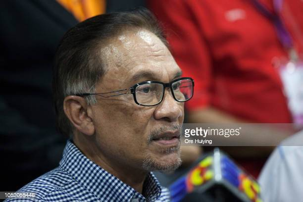 Anwar Ibrahim speaks during a press conference at Pakatan Harapan's headquarters after he wins the byelection on October 13 2018 in Port Dickson...