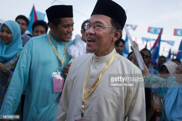 Anwar Ibrahim the leader of People's Coalition parties arrives during the nomination day on April 20 2013 in Penang Malaysia Malaysia's 13th general...